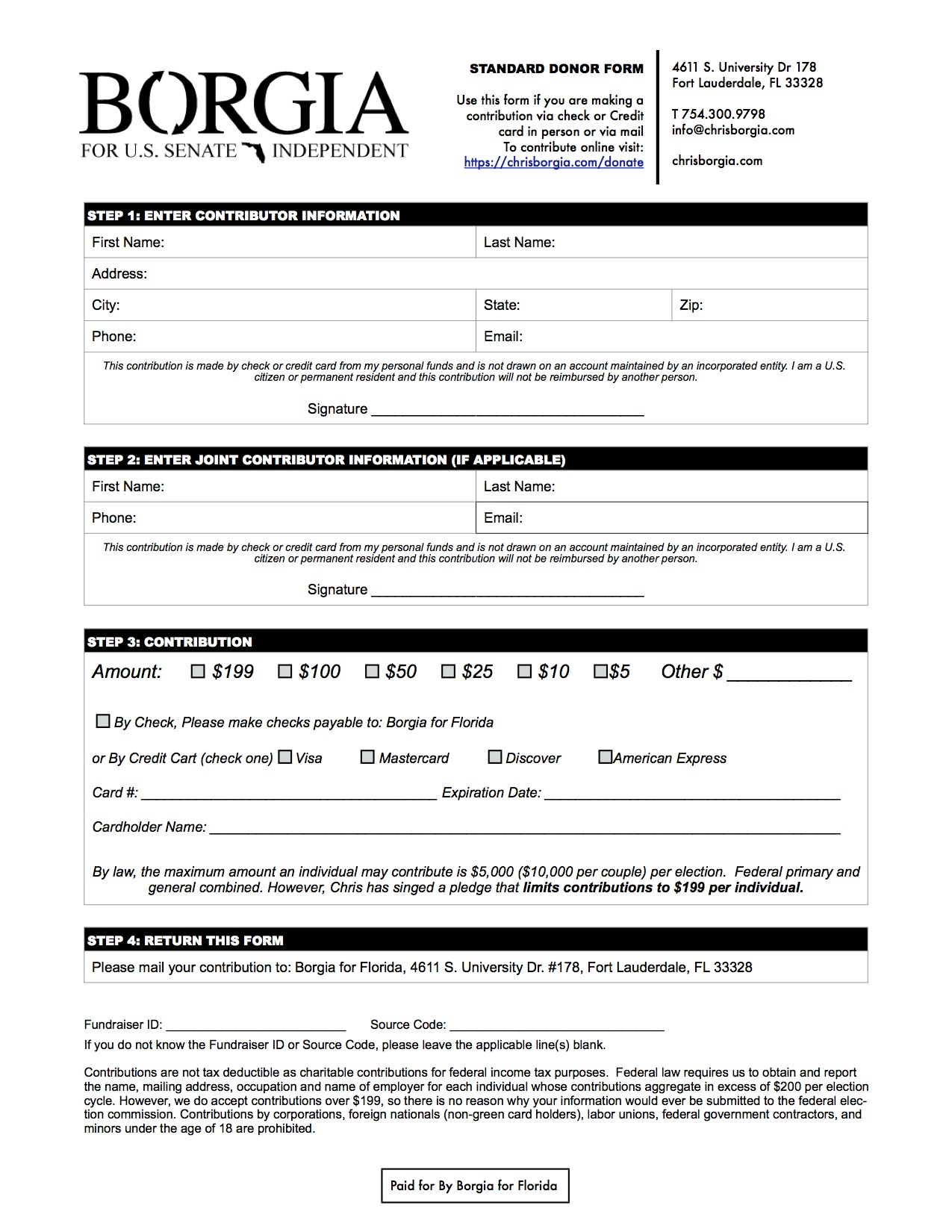 Donation form for Mail In
